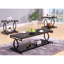 coffee table milo piece coffeeend table set in sandy black glass