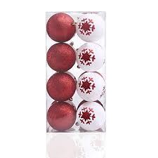Decoking 46500 16er Weihnachtskugeln Weiß Rot Brokat Kugel Dekorativ Deko Weihnachtsschmuck Christbaumschmuck Christbaumkugeln Baumschmuck Weihnachten