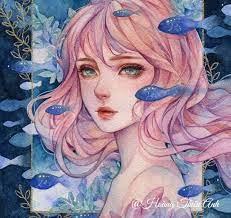 Đại dương xanh | Nhật ký nghệ thuật, Drawing, Kỹ thuật màu nước