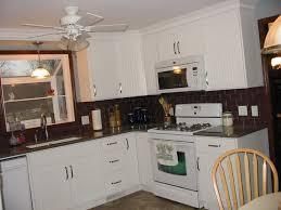 image of subway tile backsplash ideas for white kitchen cabinets