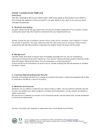 Directions Template Lesson Plan Template