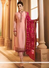 Latest Bollywood Salwar Suit Designs Drashti Dhami Peach And Pink Resham Work Churidar Designer
