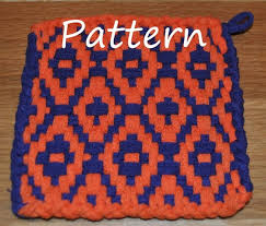 Potholder Loom Patterns Cool Pattern Instructions For Diamond Twill Potholders Etsy