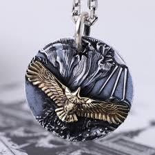 men s fine silver eagle tag necklace
