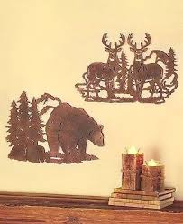 rustic metal die cut deer moose or bear silhouette wall art wildlife cabin lodge on die cut metal wall art with rustic metal die cut deer moose or bear silhouette wall art wildlife
