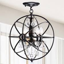 benita antique black 4 light iron orb flush mount crystal chandelier