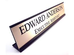 personalized desk name plate nameplate gold look with black aluminum holder 2 x 10 inches great office gift