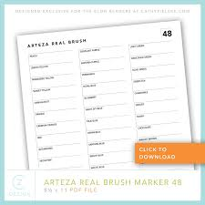 Please do not remove the created by mysticsparklewings mark 2. Free Arteza Real Brush Markers Swatch Chart A Simple Card Project Cz Design