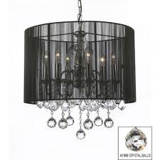 harrison lane empress crystal 6 light chrome chandelier with large black shade