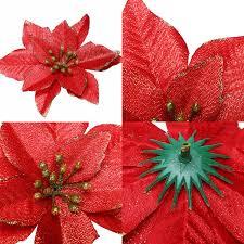Willbond 45 Stücke Weihnachtsstern Dekorationen Glitzer Künstliche Weihnachten Blumen Für Weihnachtsbaum Schmuck 5 Zoll