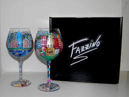 fazzino hand painted nyc wine gl with box
