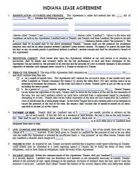 Free Indiana Standard Residential Lease Agreement Template Pdf