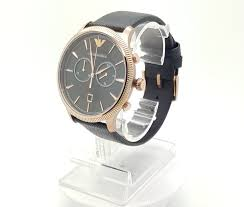emporio armani mens black and gold tones 2 sub dial leather watch ar1792