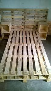 pallet furniture pinterest. Pallet Bed Frame With Side Tables And Headboard - 30+ Easy Ideas For The Furniture Pinterest R