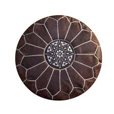 moroccan pouffe ottoman  footstool pouf genuine brown leather