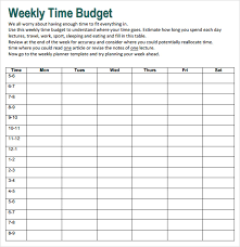 Time Budget Template Free 10 Weekly Budget In Google Docs Google Sheets Ms