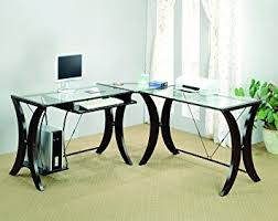 office glass desk. Coaster L-Shape Home Office Computer Desk, Cappuccino Finish Base, Glass Top Desk A