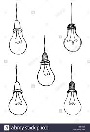 Lamp Bulb Collection Light Icon Set Hand Drawn Sketch Illustration