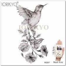 новый черный колибри временные татуировки наклейки для женщин рука карандаш