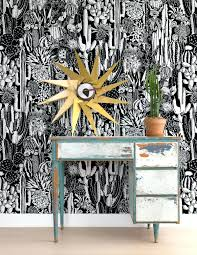 toile wallpaper black and white modern designs decor cactus spirit in  contrast design by wilder wallpapers