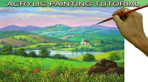 acrylic landscape painting tutorial distant village with church houses lake mountains and fields