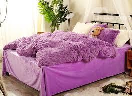 65 full size solid purple super soft plush 4 piece fluffy bedding sets duvet cover