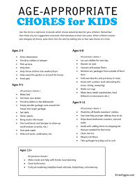Age Appropriate Chores For Kids With Free Printable Age