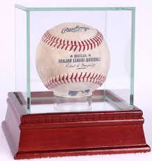 single baseball display case with glass top and cherry wood base new at pristineauction