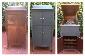 before and after of antique victor victrola phonograph repurposed into a wine bar by repurposed creations