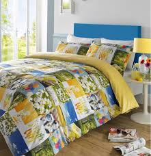 bedding summer vibes patchwork balloons flowers yellow single duvet cover