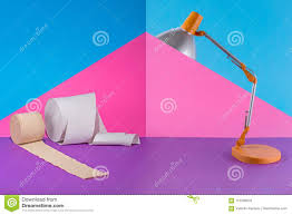 Abstract Collage With Table Lamp And Toilet Paper Stock Image