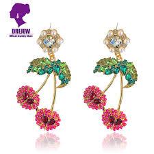<b>DREJEW</b> Cute Red Green <b>Flower</b> Plant Statement Drop Earrings ...