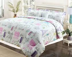 twin or full bedding girls comforter bed set paris eiffel tower pink purple