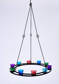 tea light chandelier single tier multi coloured glass by bell tent boutique
