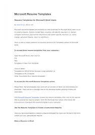 Microsoft Online Resume Templates Resume Peppapp