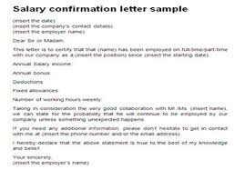 Salary Confirmation Letter Sample Proof Of Income Template