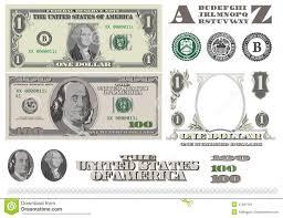 Money Bill Template Money 1 And 100 Dollar Bills Template Stock Illustration