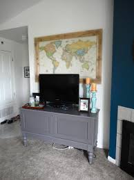 diy large map art above the tv jennaandcalder