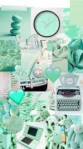 Mint green pastel collage wallpaper ...