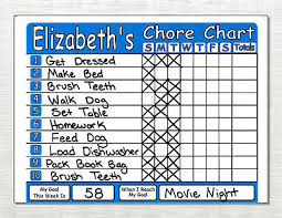 Kids Chore Chart Use As Dry Erase Board Has Weekly Goal And