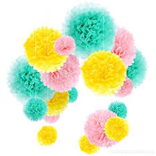 Tissue Paper Pom Poms Flower Balls Tissue Paper Pom Poms Flower Ball Kit Party Wedding Decorations 18 Pieces Mint Pink And Yellow Dsb6faxtp