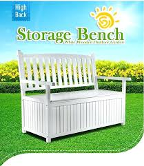 white outdoor storage benches high back white wooden outdoor garden storage bench wing outdoor wicker storage