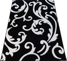 contemporary swirls woven 4x6 area rug black white actual size