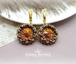 beaded earrings seed bead earrings swarovski earrings brown earrings chocolate earrings crystal earrings chandelier earrings