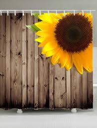 Waterproof Sunflower Wood Grain Shower Curtain - BROWN W71 INCH * L79 INCH