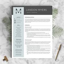 2 Page Resumes Adorable Modern Resume Template For Word And Pages 48 48 48 Page Etsy
