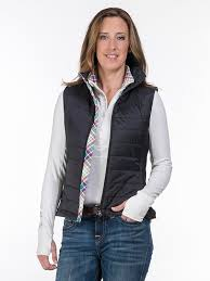 Equestrian Vests for Women | Quilted Vest | Lascaux Equestrian & Women's Equestrian Quilted Vest in Black color. Model is showing the front  open. Horse Adamdwight.com