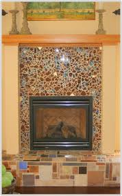 glass mosaic tile fireplace surround