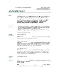 Sample Resume For College Student College Student Resume For