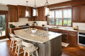 stained kitchen cabinets in pecan with ebony glaze by showplace cabinetry view 2